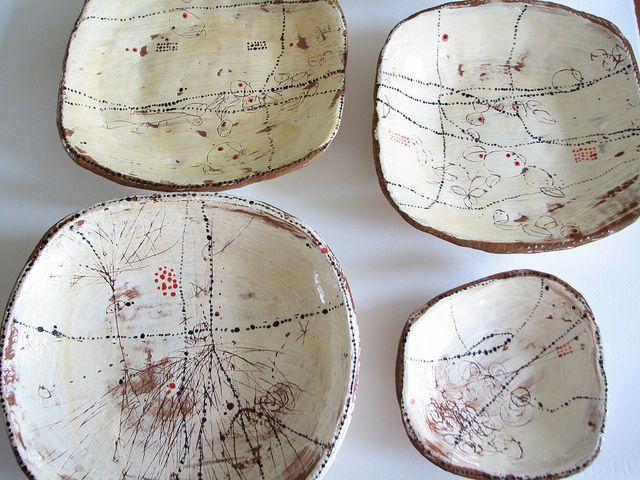 Lari Washburn ceramic plates http://www.flickr.com/photos/lariwashburn/sets/72157624252589881/with/4742930208/