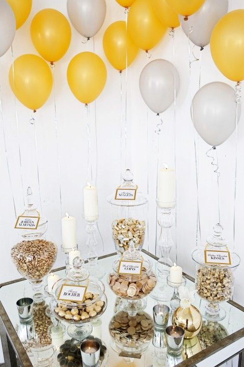 Glamorous wedding with clear jars for the dessert table #wedding #gold #dessert #desserttable #diywedding