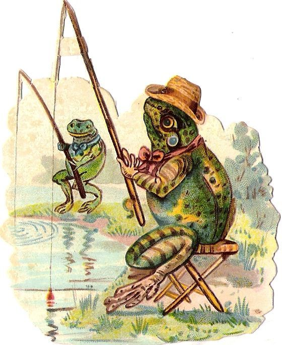 Oblaten Glanzbild scrap chromo  die cut  Frosch frog angeln  fishing humanisiert