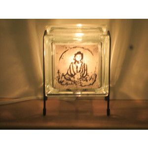 Buddha lamp upcycled FREE SHIPPING handmade glass block lamp for spa yoga room meditation room for dad massage therapist gift Buddhist lamp