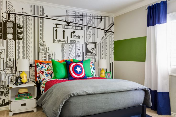 Modern Super Hero Kids Room - love the NYC accent wall with the bold colors and fun super-hero sheets from @potterybarnkids!