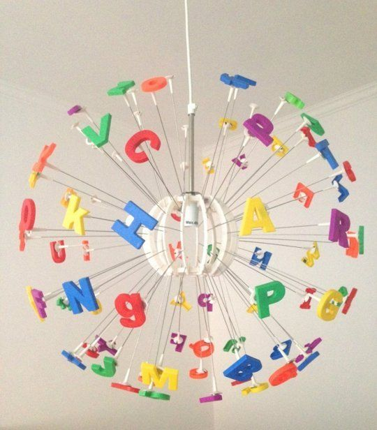 Love this MASKROS pendant lamp hack using plastic alphabet letters!