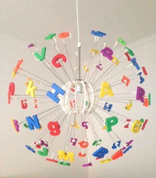 Love this MASKROS pendant lamp hack using plastic alphabet letters!