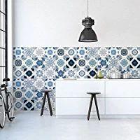 PS00062 Pared pegatinas de PVC para los azulejos para baño y cocina Stickers design - Azul de cobalto - 64 azulejos 10x10 cm
