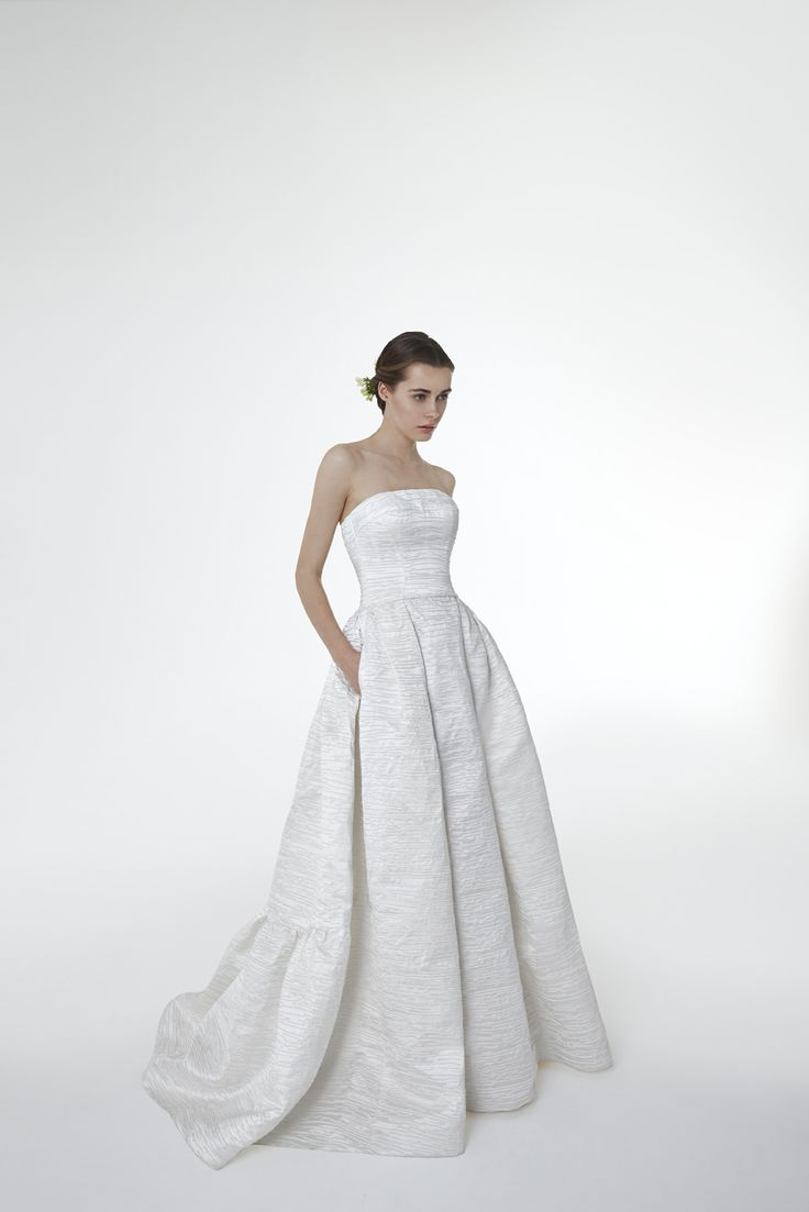 Style GINA: Silk shantug pleated strapless gown with beaded belt