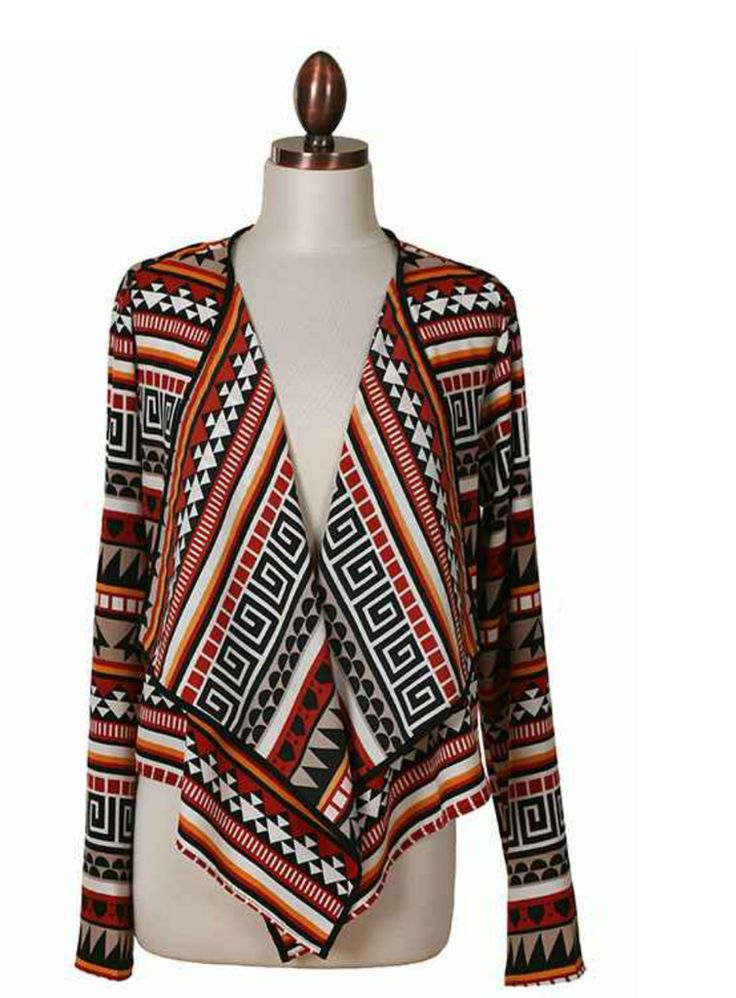 Jade Tribal Print Cardigan – A Peek Inside the Closet $44 Don't hide under that old hoodie when you can be rocking' out in the My Story Jade Multicolored Cardigan Sweater!