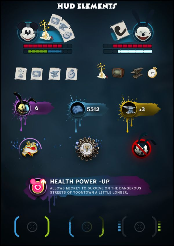 Epic Mickey 2: The Power of Two Game UI by Shane Mielke, via Behance