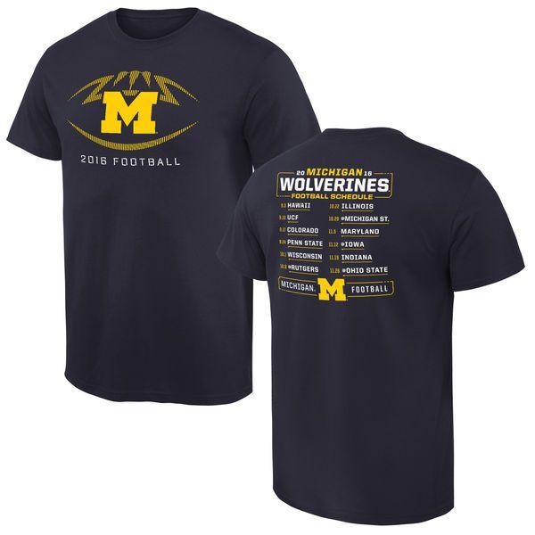 Michigan Wolverines 2016 Football Schedule T-Shirt - Navy - $18.99