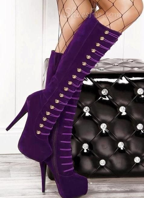bags Knee Stiletto Purple Boots High        city Heels balenciaga