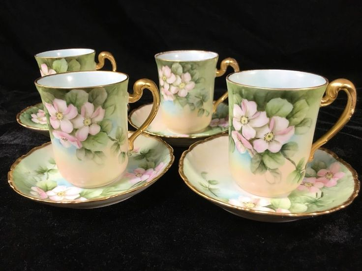 (4) T & V LIMOGES CENTURY Porcelain TEA CUP & SAUCER - RAVENWOOD STUDIO | Pottery & Glass, Pottery & China, China & Dinnerware | eBay!