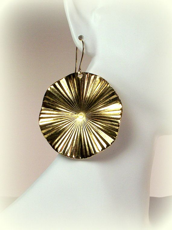 Circle and Waves Gold Art Deco Earrings by Designed By Audrey, $19.00