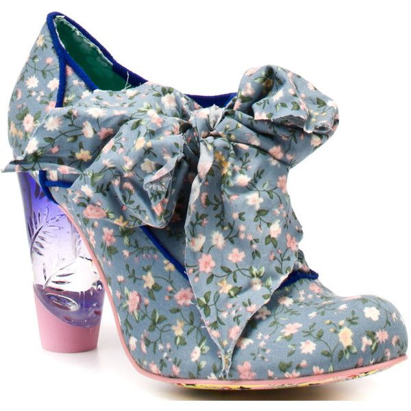 Irregular Choice Women's Bonnie Bonnett - Blue (365 BRL) ❤ liked on Polyvore featuring shoes, heels, sapatos, blue, boots, blue high heel shoes, multi color shoes, high heel shoes, blue floral shoes and floral high heel shoes