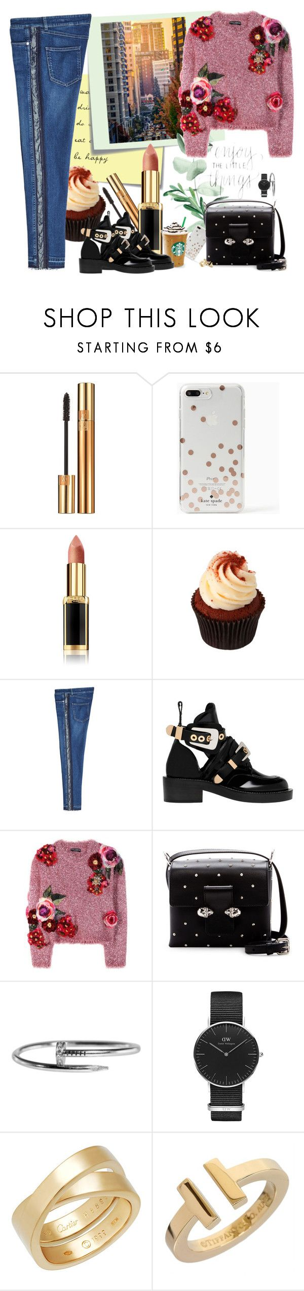"""""""The first 5 days after weekend are the hardest. Waiting for the weekend."""" by katartrina ❤ liked on Polyvore featuring Post-It, Yves Saint Laurent, Kate Spade, L'Oréal Paris, Alexander McQueen, Balenciaga, Dolce&Gabbana, Cartier, Daniel Wellington and Tiffany & Co."""