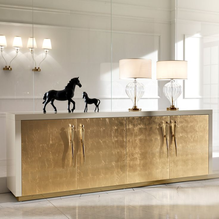 Large High End Gold Leaf Sideboard at Juliettes Interiors, a large collection of contemporary Italian furniture.