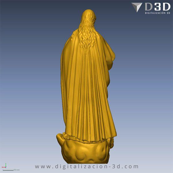 Vista trasera del escaneado 3d de la Virgen Inmaculada