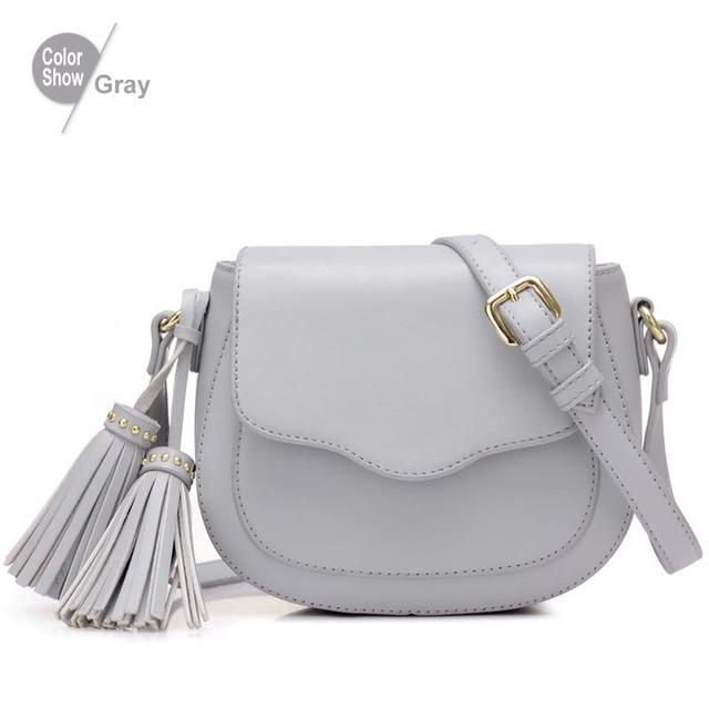 RoyaDong 2017 Women Bag Artificial Leather Tassel Shoulder Bag Small Saddle For Girls Crossbody Bags For Women Messenger Bags