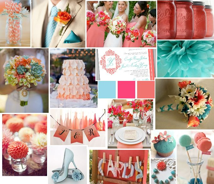 Blue and Coral Wedding Colors | Inspiration: Light Blue & Coral | Vision In  White