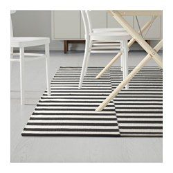 "STOCKHOLM Rug, flatwoven, black stripe handmade, stripe off-white black/off-white - handmade/stripe black/off-white - 5 ' 7 ""x7 ' 10 "" - IKEA"