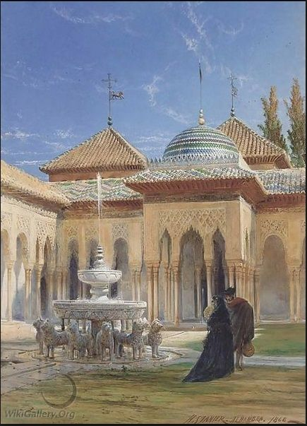 'Figures in the courtyard of the Alhambra, Granada', Stanier