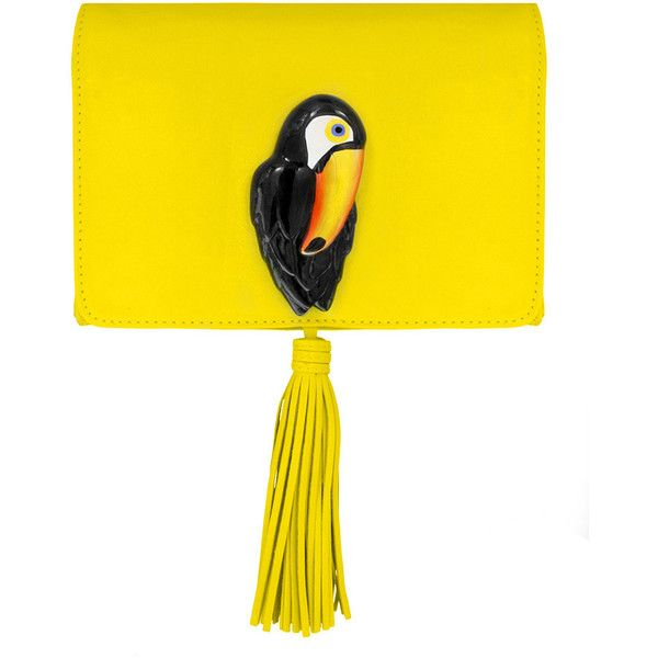 Nach bijoux yellow clutch bag with toucan ($409) ❤ liked on Polyvore featuring bags, handbags, clutches, chain handbags, yellow clutches, animal handbags, yellow purse and chain purse
