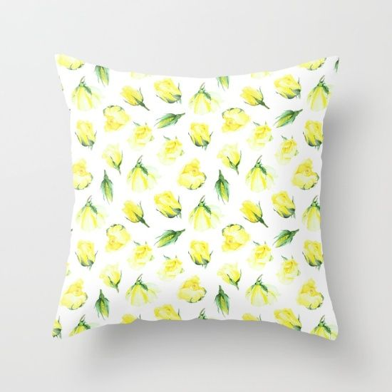watercolor pattern yellow roses Throw Pillow
