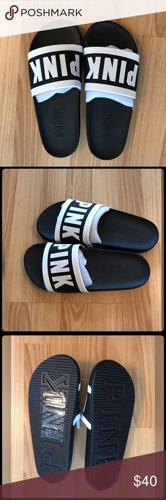 """✨ """"SOLD"""" PINK VICTORIA SLIDES ✨ Brand new! Never worn. Super cute slides Size M-7-8 ✨Note- Runs big! I'm a size 7 and there too big for me! PINK Victoria's Secret Shoes"""