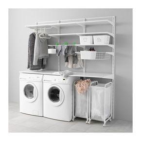 IKEA - ALGOT, Wandschiene/Böden/Wäschehalter, Die Teile der ALGOT Serie lassen sich vielseitig kombinieren und können so dem Bedarf und dem vorhandenen Platz angepasst werden.Praktisch in der Nähe von Wasch- und Trockenmaschine; beim Aufhängen, Sortieren und Zusammenlegen von Wäsche.Konsolen, Böden und andere Zubehörteile werden einfach eingehängt. So lassen sich Kombinationen leicht montieren, anpassen und verändern.Passt überall im Haus - sogar im Badezimmer und anderen Feuchträumen…