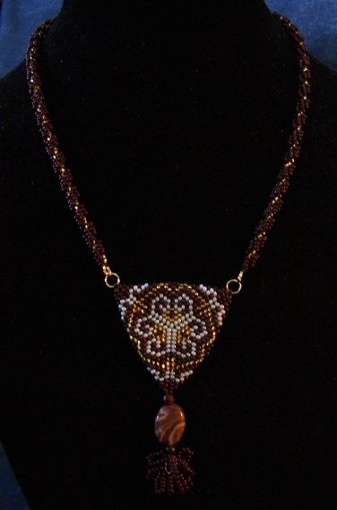 Bead woven necklace and pendant with a crazy agate.    www.facebook.com/teristreasures