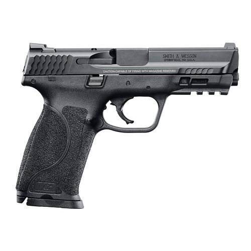 The Smith & Wesson M&P M2.0 9mm Semiautomatic Pistol features an M&P M2.0 trigger and includes both a control-enhancing grip texture and 4 interchangeable palm swell grip inserts. This striker-fired pistol also includes a corrosion-resistant Armornite fin