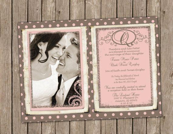 Klassieke roze en Taupe bruiloft van MissBlissInvitations op Etsy