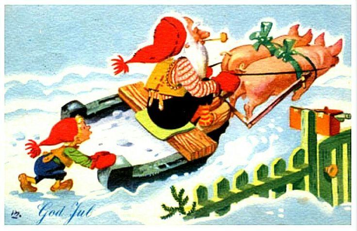 Julekort BRATLIE, GUNNAR. Nisse på hestesko som snøplog trukket av 2 griser brukt 1952 Utg Aune