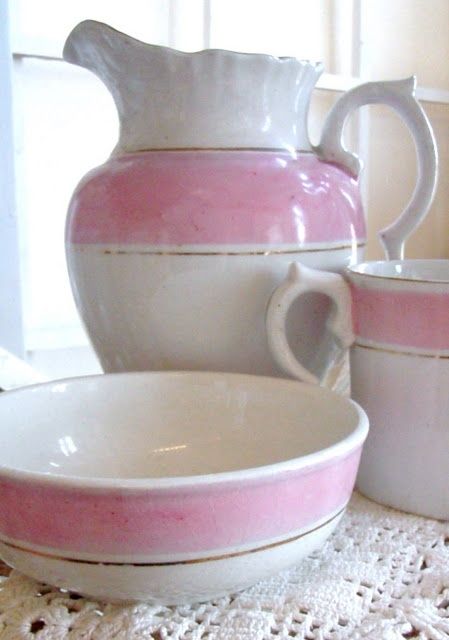 Unusual ironstone wash stand set with wide pink stripe (Cabin & Cottage : New Summery Vintage Goods)