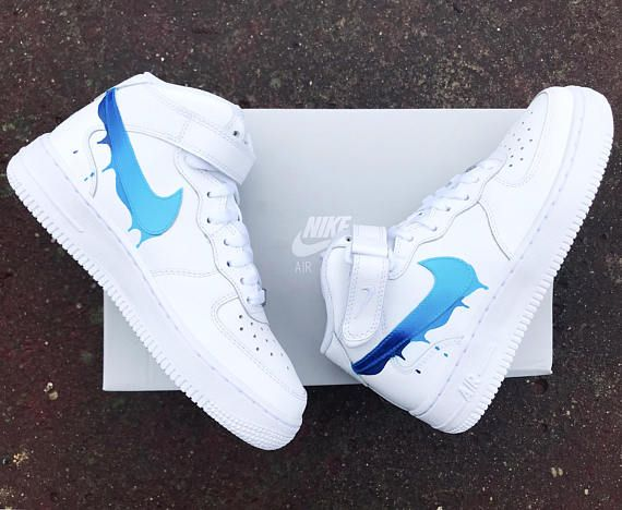 Faded Blue Drippy Nike Air Force One Custom Nike Shoes Sneakers