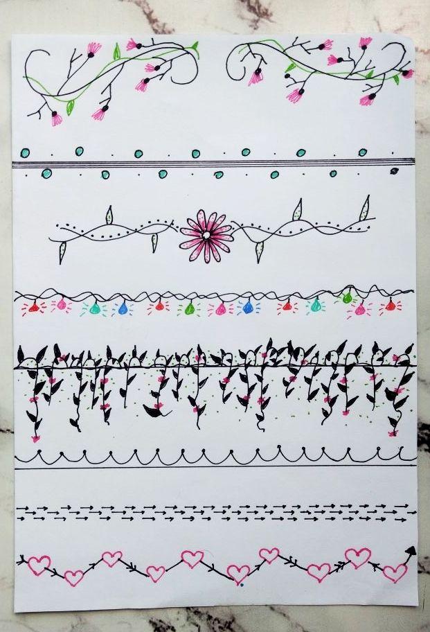 Divisórias e margens para decorar o caderno, bullet journal, agendas ou planners.