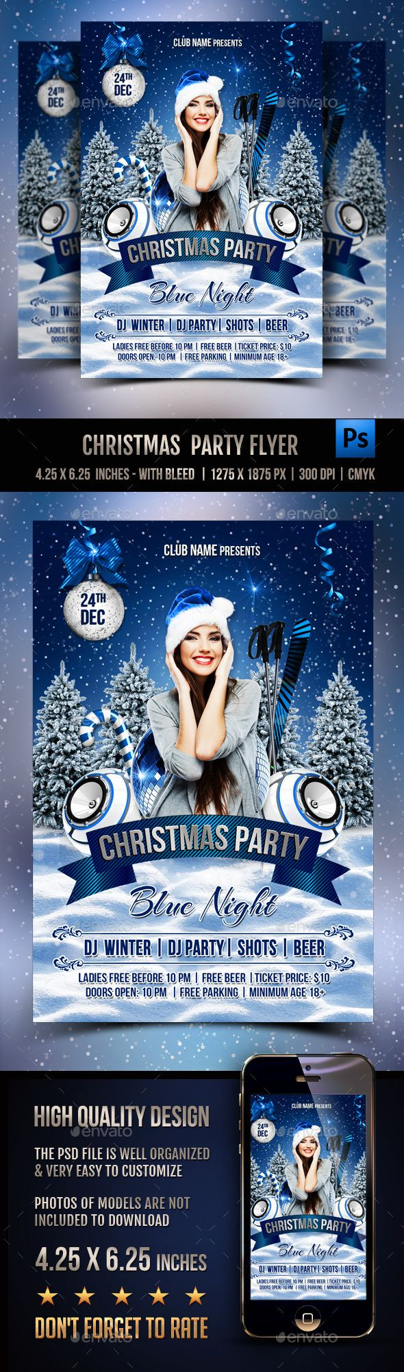 Christmas Party Flyer — Photoshop PSD #happy new year #template • Available here…