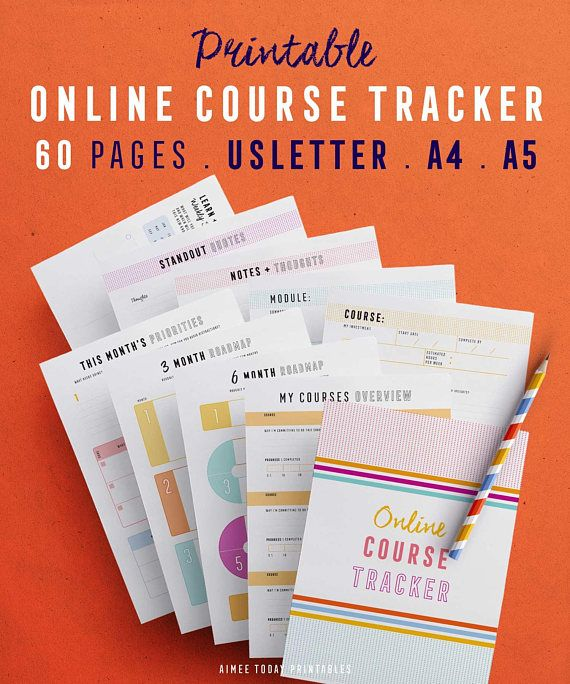 online course tracker kit printables to help you make progress on