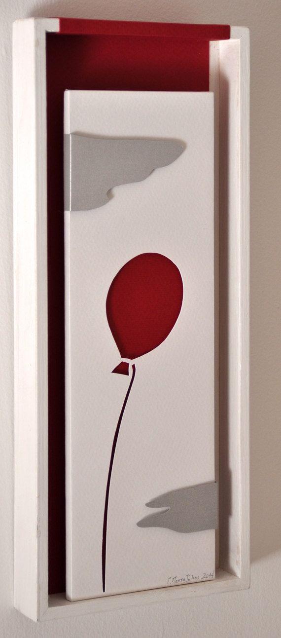 Handmade 3 layered papercut art flying balloon through by semioX