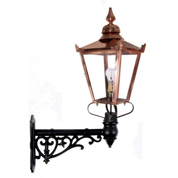 Copper Victorian Wall Light On Ornate Bracket - Victorian Garden Wall Lights - Wall Lights