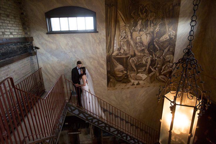 Hacienda Sarria bride and groom on staircase