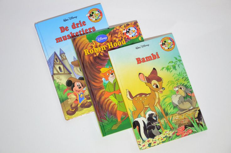 Three Dutch Language Walt Disney Book Club Hardcover Children's Books Assorted in Nederlands De Drie Musketiers Robin Hood Bambi Boekenclub by VisionVintageDecor on Etsy