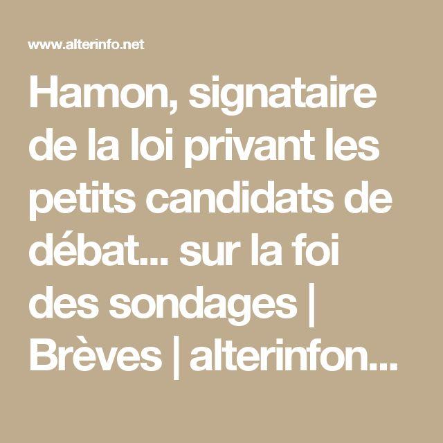 Hamon, signataire de la loi privant les petits candidats de débat... sur la foi des sondages | Brèves | alterinfonet.org Agence de presse associative