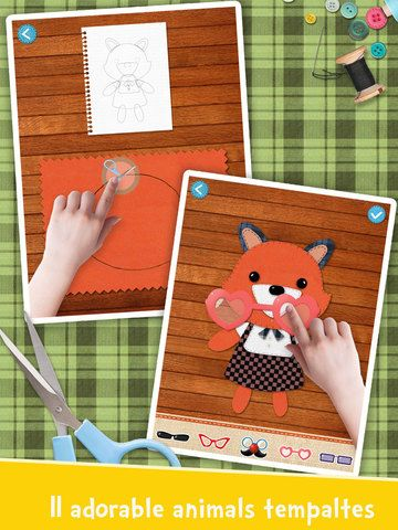 Keep your kids happy for hours, making and playing with 11 fabric crafts & 6 mini games.  In this app, there are 11 templates guide children using fabric scraps to make adorable animals, and 6 mini games with endless fun.  [Video]: https://itunes.apple.com/app/labo-fabric-friends-making/id966500443?ls=1&mt=8  It's for kids 4-7.