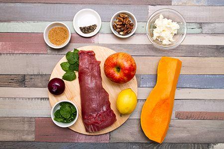 Egészben sült bélszín sütőtökkel és almás-diós salátával - Chefbag