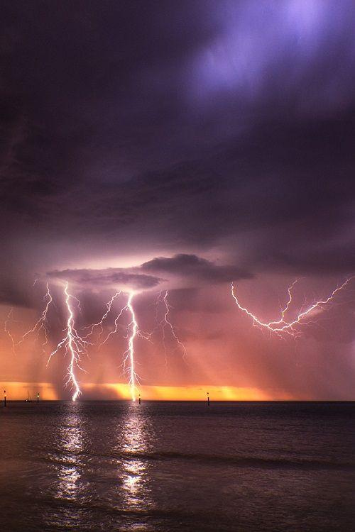 Sunset lightning from Glenelg North Beach in Adelaide ~ South Australia.