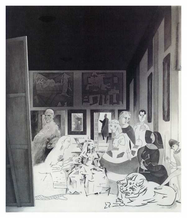 Richard Hamilton  Picasso's meninas 1973   hard-, soft-ground and stipple etching, roulette,  open-bite and lift-ground acquatint, engraving,  drypoint and burnishing  plate size 57.1 x 49.1 cm