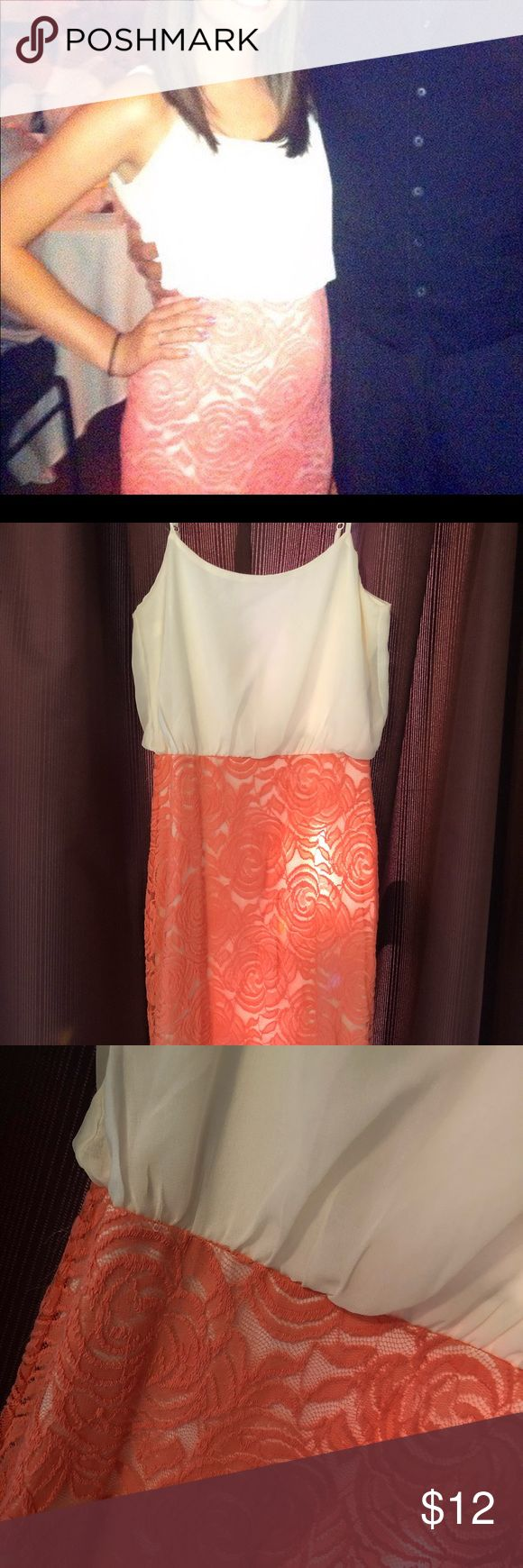 Lace and chiffon mini dress Dress is fully lined. Coral lace skirt with cream top. Adjustable straps and zip/tie back. Hits just above the knee. Zinga Dresses Mini