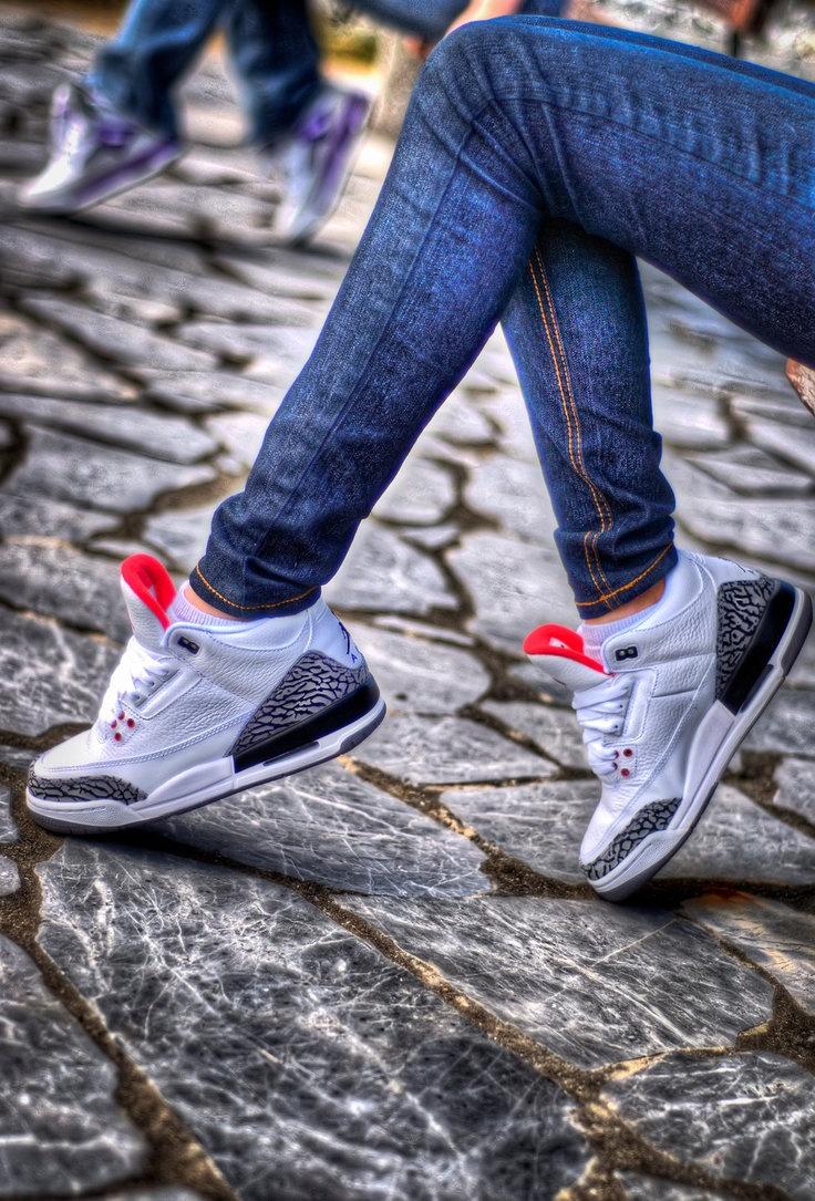 #chickswithkicks #FilthyKicks   Air Jordan Cement 3's