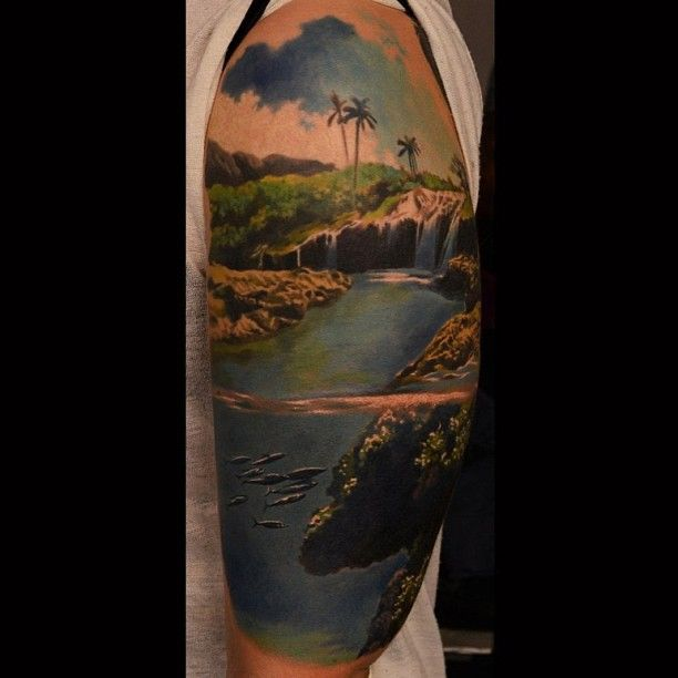 I like the idea of the waterfall and it showing underwater as well, but     maybe a different artist
