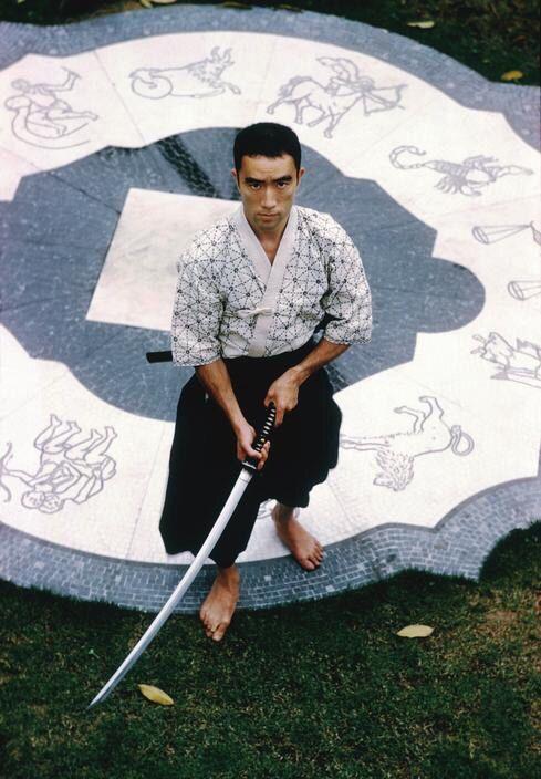 Mishima Yukio 三島 由紀夫 (1925-1970) at home - Tokyo - 1961 Photo : Burt Glinn for Holiday Magazine