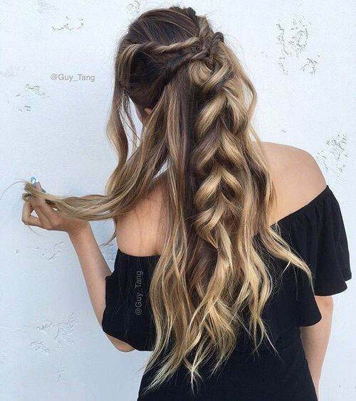 Balayage color makes every hairstyle look gorgeous with the differing of colors. I love the twists going into a huge braid.